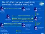 the iso 20022 recipe is used 6 11 securities investment funds civ