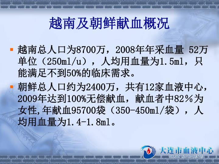 越南及朝鲜献血概况