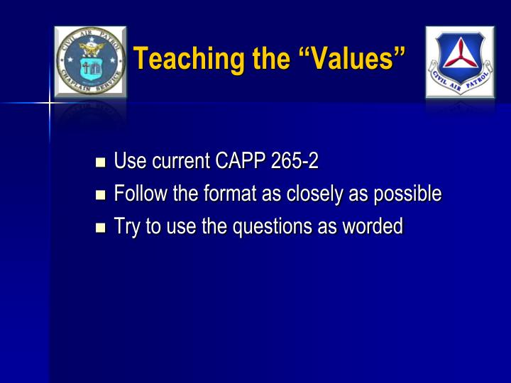 "Teaching the ""Values"""