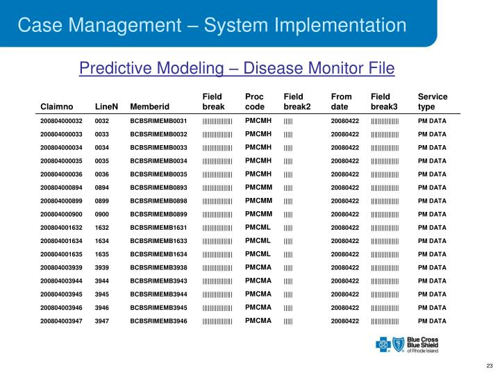 Case Management – System Implementation