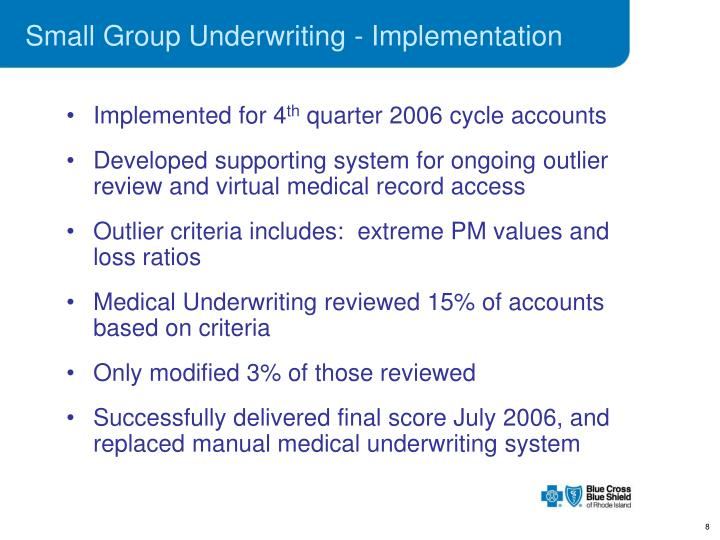 Small Group Underwriting - Implementation