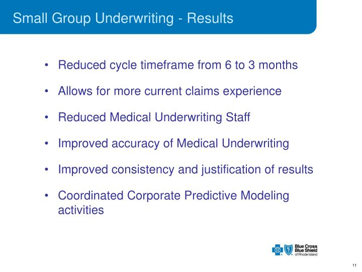 Small Group Underwriting - Results