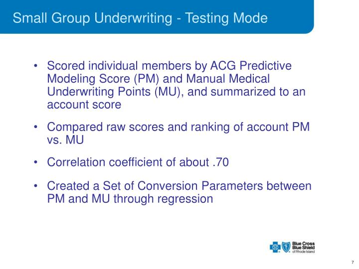Small Group Underwriting - Testing Mode