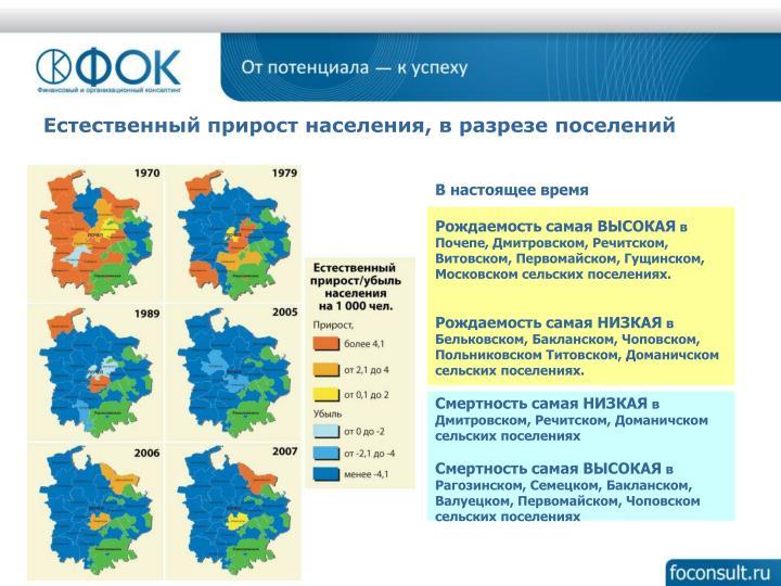 Естественный прирост населения, в разрезе поселений