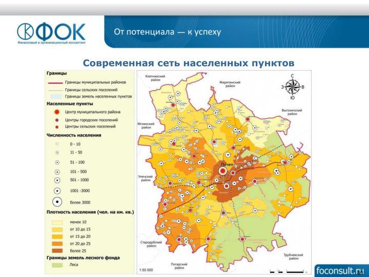 Современная сеть населенных пунктов