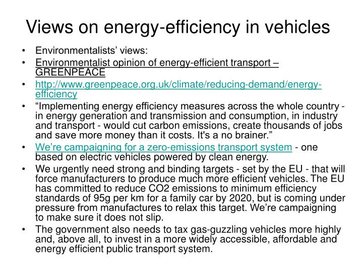 Views on energy efficiency in vehicles