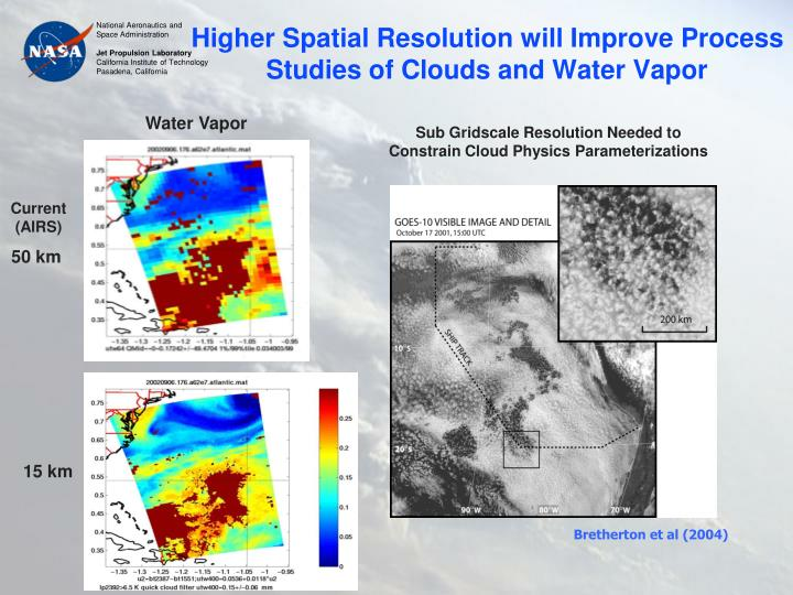 Higher Spatial Resolution will Improve Process Studies of Clouds and Water Vapor