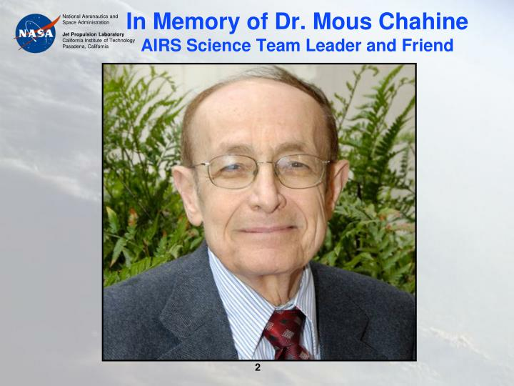 In Memory of Dr. Mous Chahine