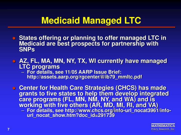 Medicaid Managed LTC