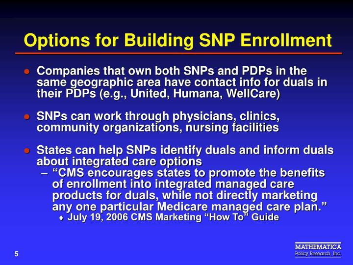 Options for Building SNP Enrollment