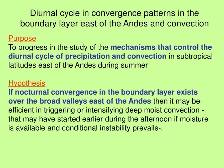 Diurnal cycle in convergence patterns in the boundary layer east of the Andes and convection