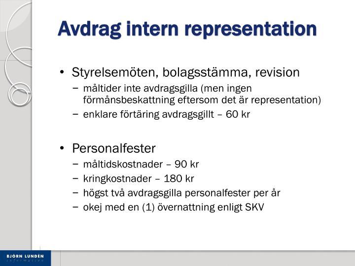 Avdrag intern representation