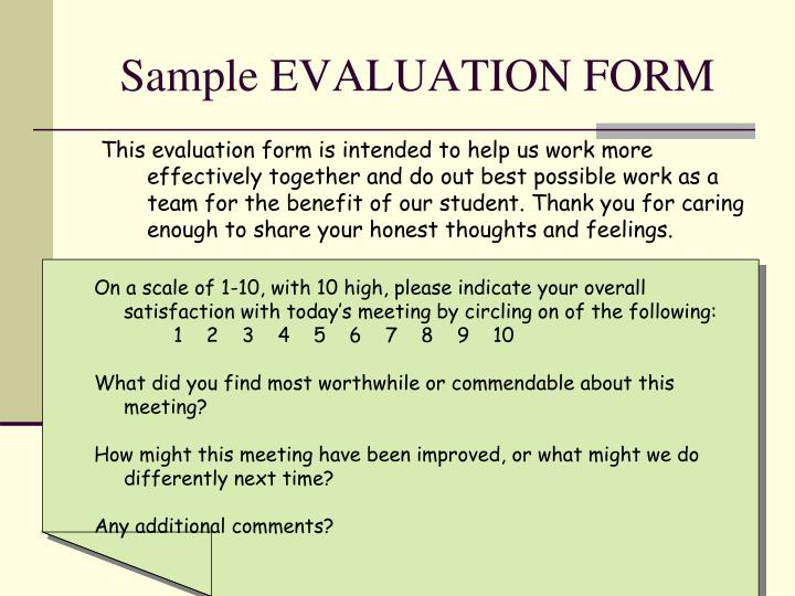 Sample EVALUATION FORM