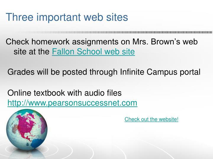 Three important web sites