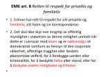 emk art 8 retten til respekt for privatliv og familieliv