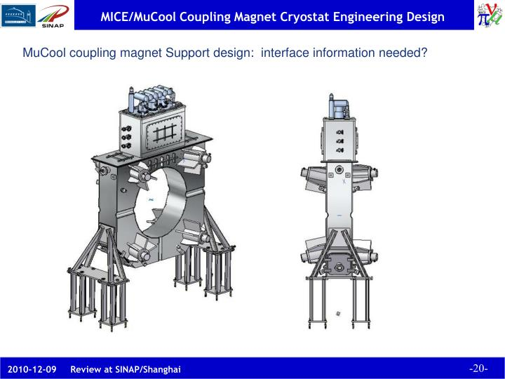 MuCool coupling magnet Support design:  interface information needed?
