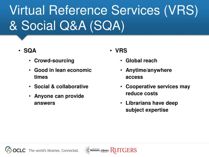 Virtual reference services vrs social q a sqa