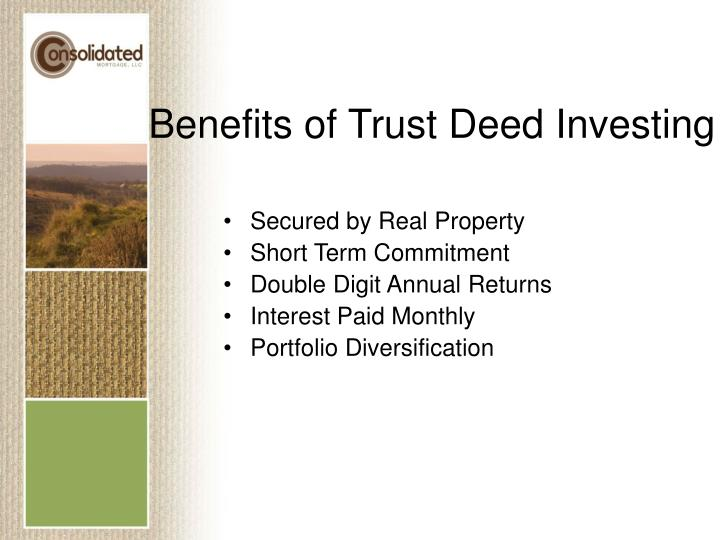 Benefits of Trust Deed Investing