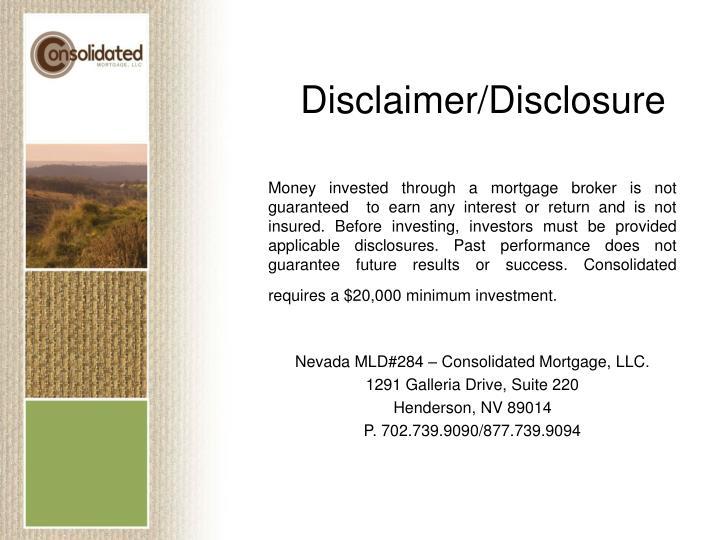 Disclaimer/Disclosure