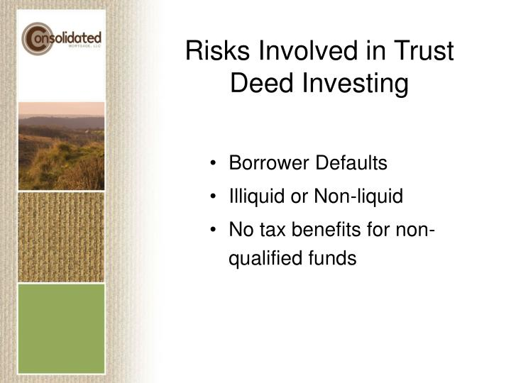Risks Involved in Trust Deed Investing