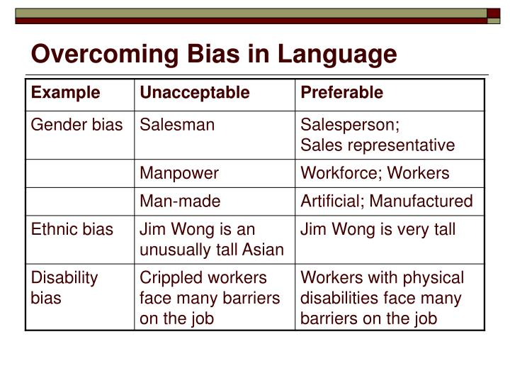 Overcoming Bias in Language