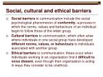 social cultural and ethical barriers
