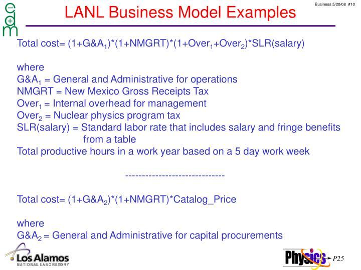 LANL Business Model Examples
