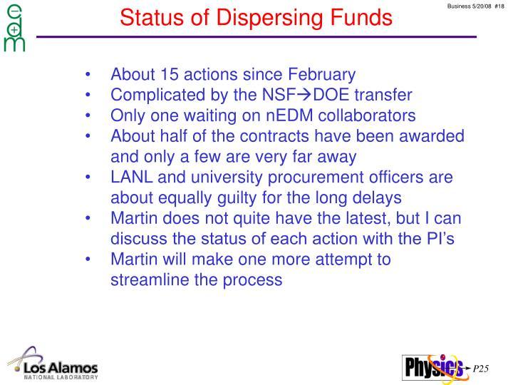 Status of Dispersing Funds
