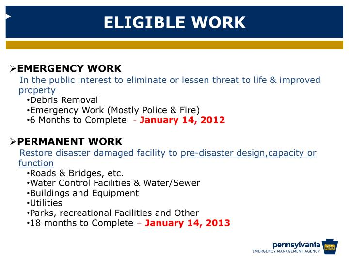 ELIGIBLE WORK