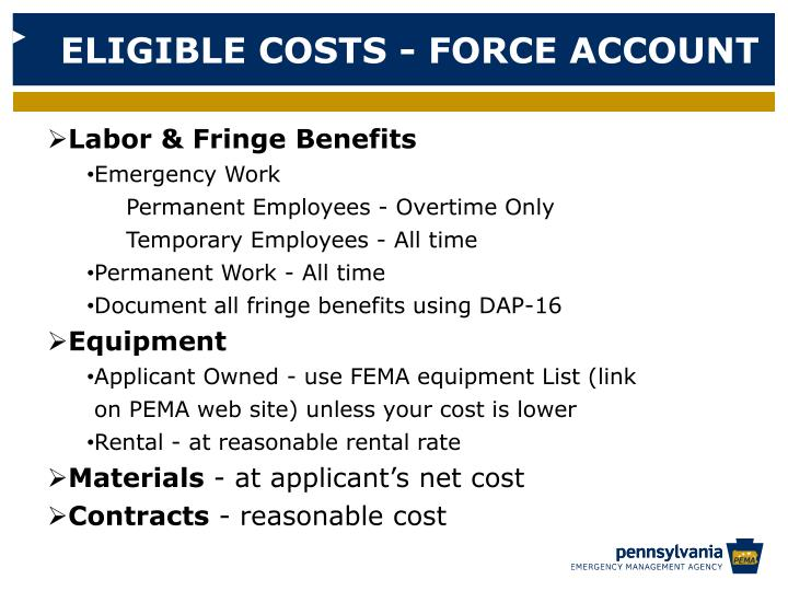 ELIGIBLE COSTS - FORCE ACCOUNT