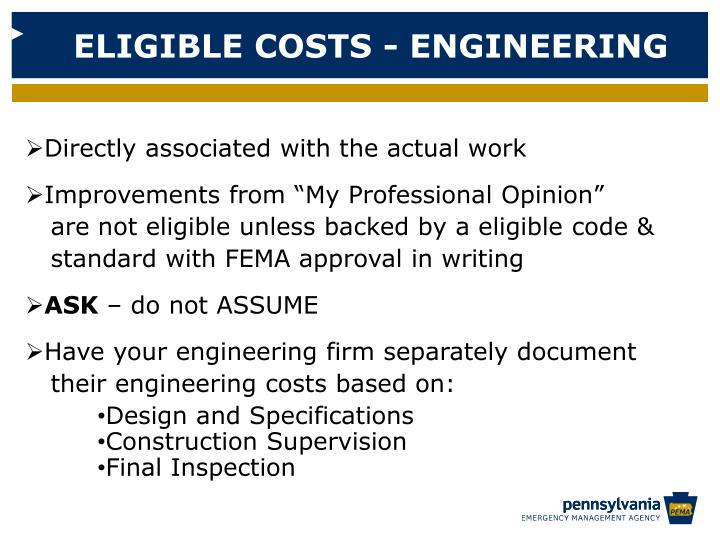 ELIGIBLE COSTS - ENGINEERING