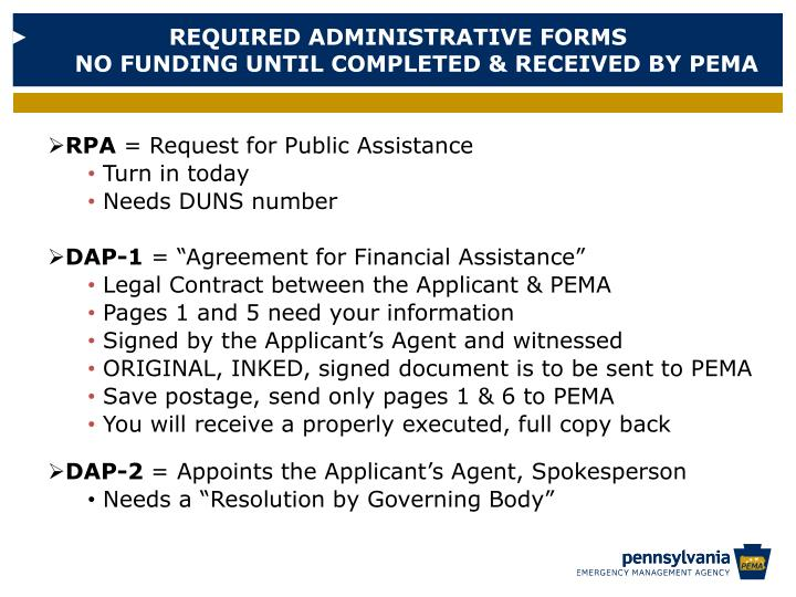 REQUIRED ADMINISTRATIVE FORMS