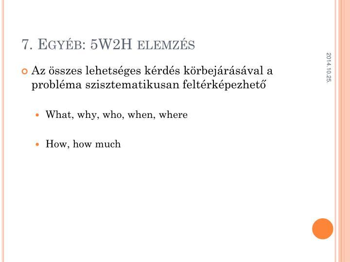 7. Egyéb: 5W2H elemzés
