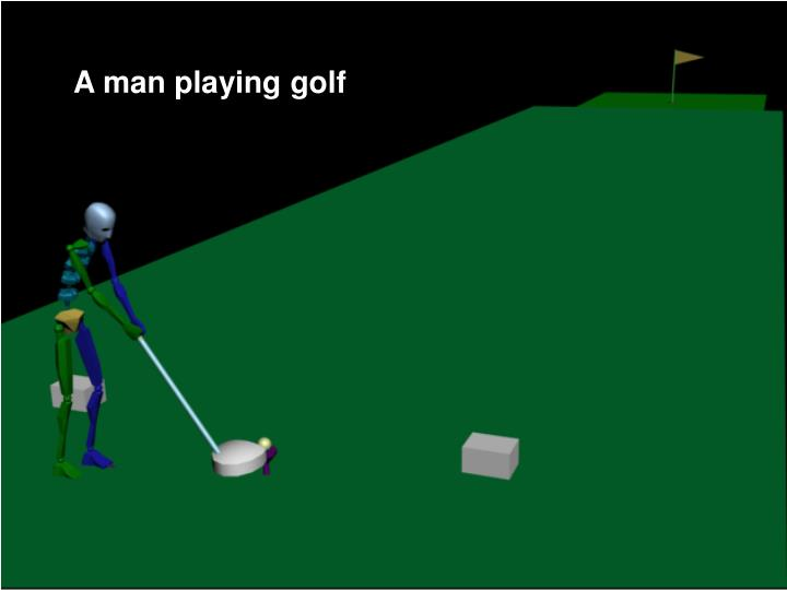 A man playing golf