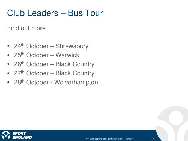 Club Leaders – Bus Tour