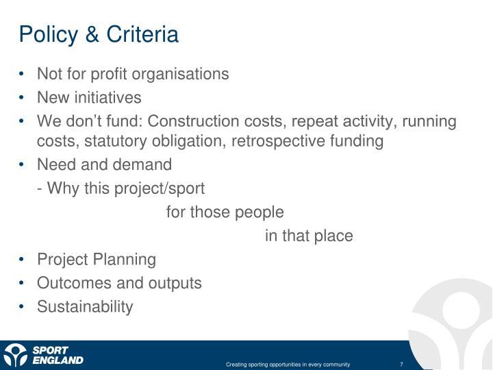 Policy & Criteria