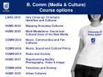 b comm media culture course options1