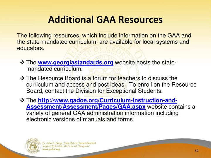 Additional GAA Resources