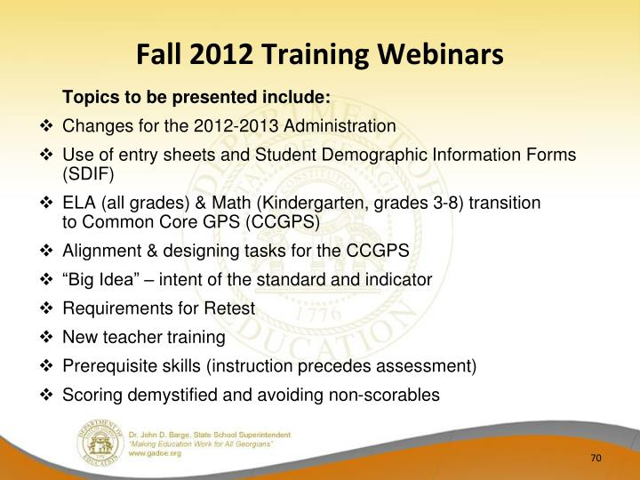 Fall 2012 Training Webinars