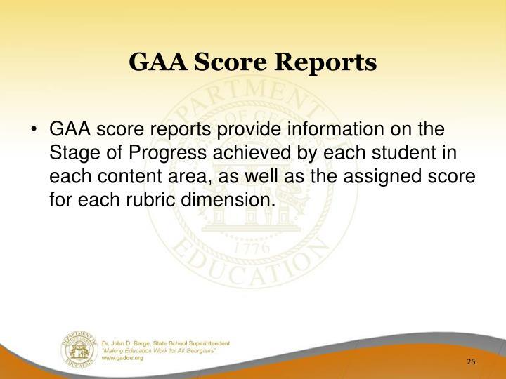 GAA Score Reports