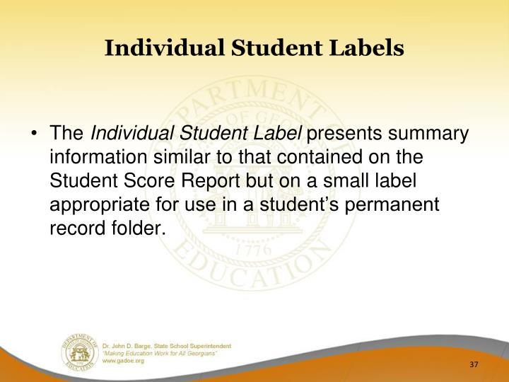 Individual Student Labels