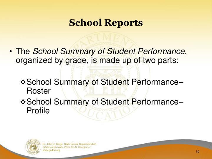 School Reports