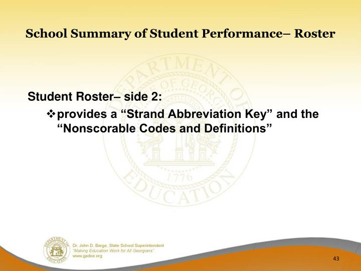 School Summary of Student Performance– Roster