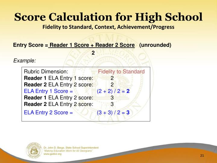 Score Calculation for High School