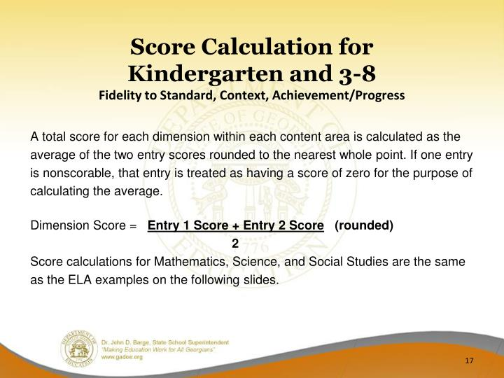 Score Calculation for