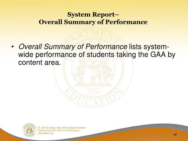 System Report–