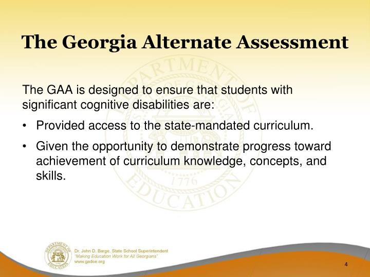 The Georgia Alternate Assessment