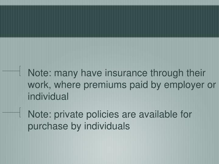 Note: many have insurance through their work, where premiums paid by employer or individual