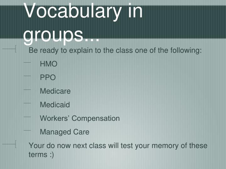 Vocabulary in groups...
