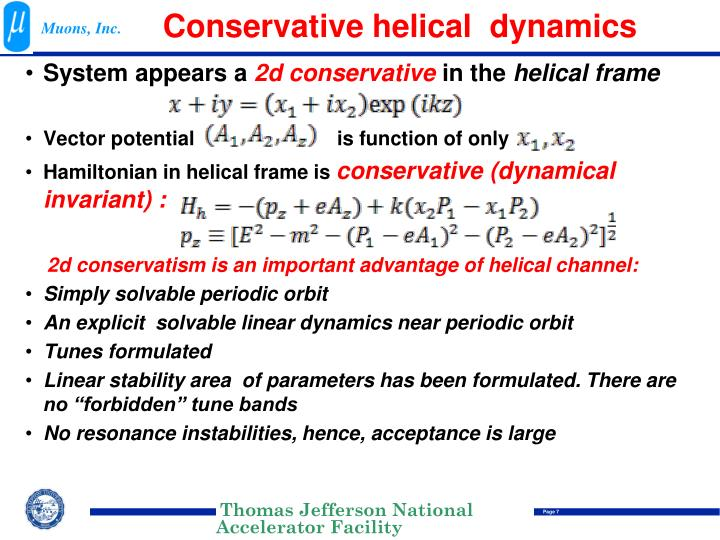 Conservative helical  dynamics